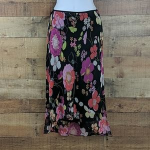 Paper Doll Floral Skirt High Low Lined Sz Small